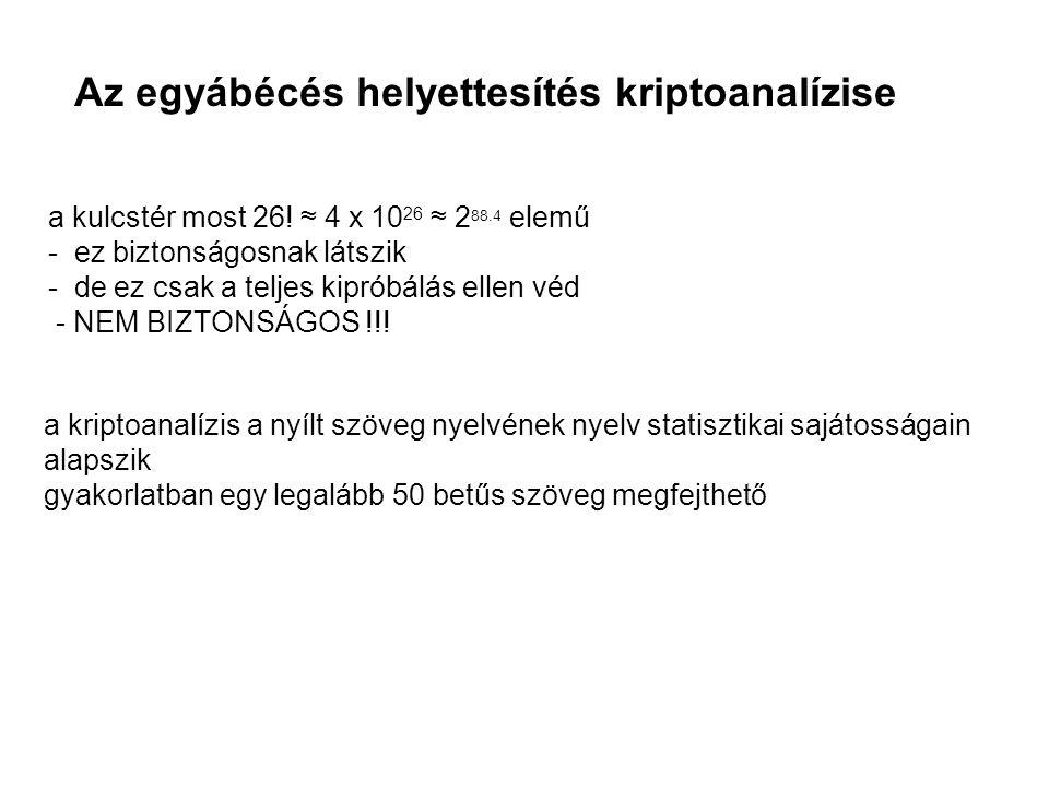 Az egyábécés helyettesítés kriptoanalízise a kulcstér most 26! ≈ 4 x 10 26 ≈ 2 88.4 elemű - ez biztonságosnak látszik - de ez csak a teljes kipróbálás