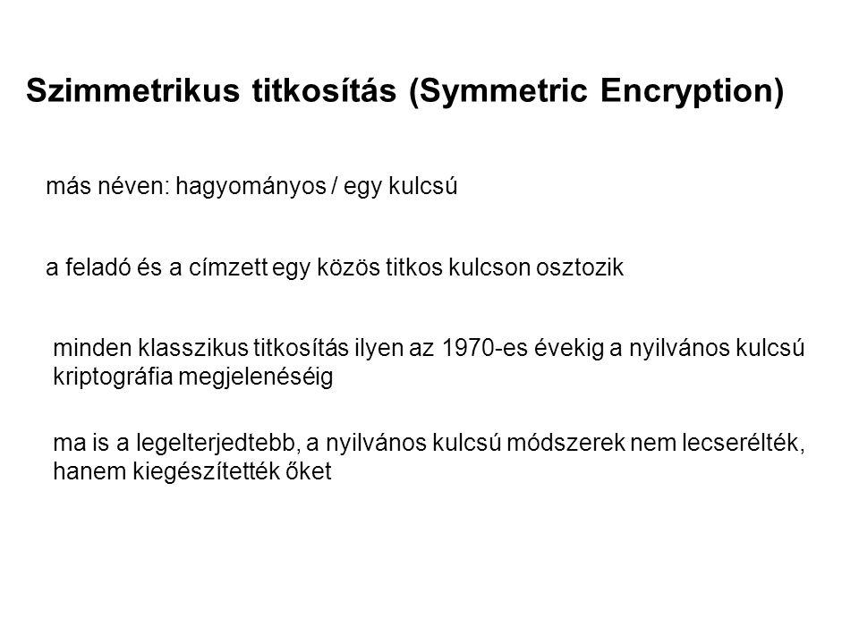 Szimmetrikus titkosítás (Symmetric Encryption) más néven: hagyományos / egy kulcsú a feladó és a címzett egy közös titkos kulcson osztozik minden klas
