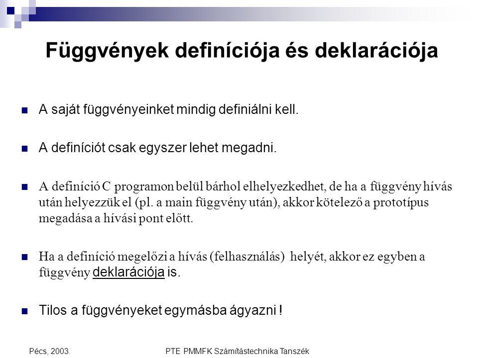 PTE PMMFK Számítástechnika TanszékPécs, 2003. Függvények definíciója és deklarációja A saját függvényeinket mindig definiálni kell. A definíciót csak