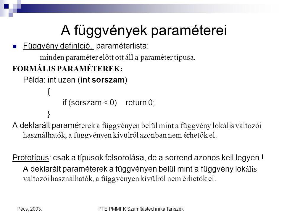 PTE PMMFK Számítástechnika TanszékPécs, 2003. A függvények paraméterei Függvény definíció, paraméterlista: minden paraméter előtt ott áll a paraméter