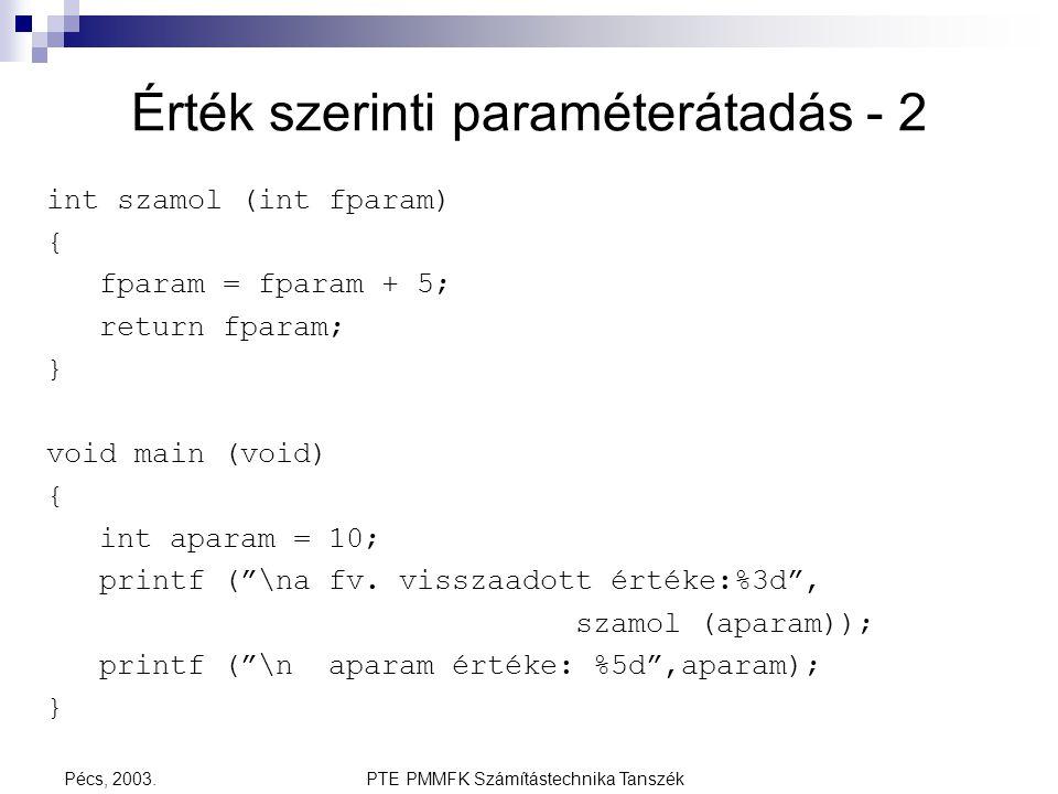 PTE PMMFK Számítástechnika TanszékPécs, 2003. Érték szerinti paraméterátadás - 2 int szamol (int fparam) { fparam = fparam + 5; return fparam; } void