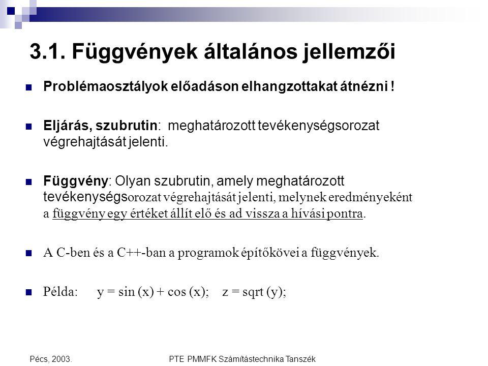 PTE PMMFK Számítástechnika TanszékPécs, 2003. 3.1. Függvények általános jellemzői Problémaosztályok előadáson elhangzottakat átnézni ! Eljárás, szubru