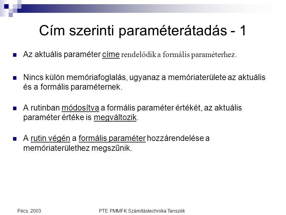 PTE PMMFK Számítástechnika TanszékPécs, 2003. Cím szerinti paraméterátadás - 1 Az aktuális paraméter címe rendelődik a formális paraméterhez. Nincs kü