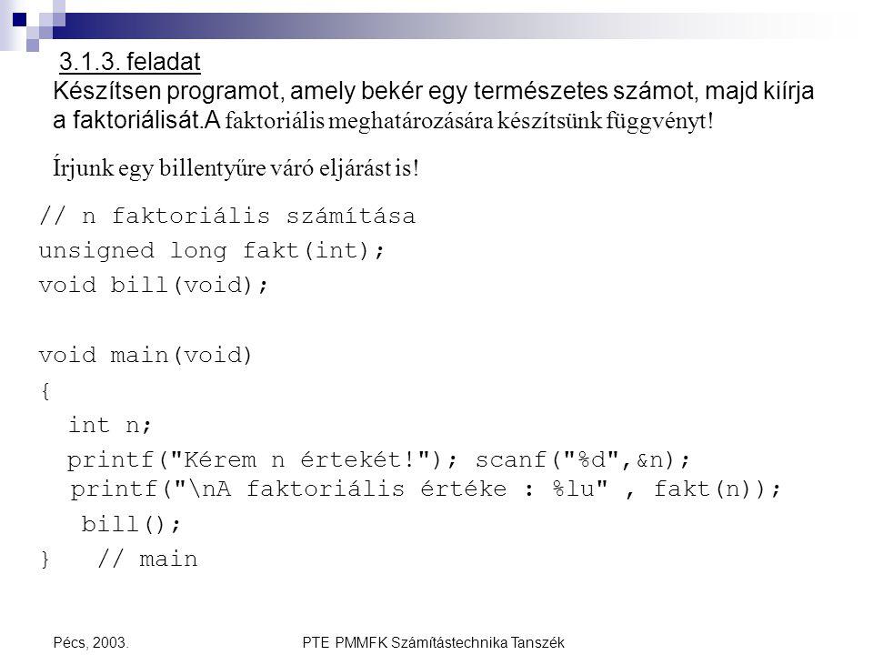 PTE PMMFK Számítástechnika TanszékPécs, 2003. 3.1.3. feladat Készítsen programot, amely bekér egy természetes számot, majd kiírja a faktoriálisát.A fa