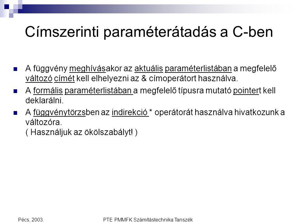 PTE PMMFK Számítástechnika TanszékPécs, 2003. Címszerinti paraméterátadás a C-ben A függvény meghívásakor az aktuális paraméterlistában a megfelelő vá