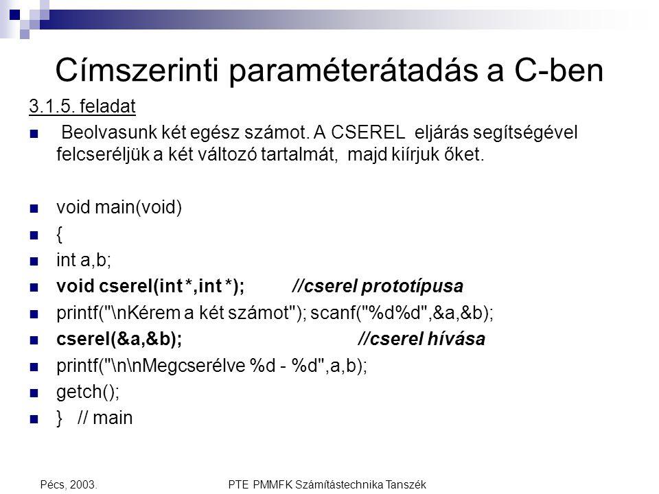 PTE PMMFK Számítástechnika TanszékPécs, 2003. Címszerinti paraméterátadás a C-ben 3.1.5. feladat Beolvasunk két egész számot. A CSEREL eljárás segítsé