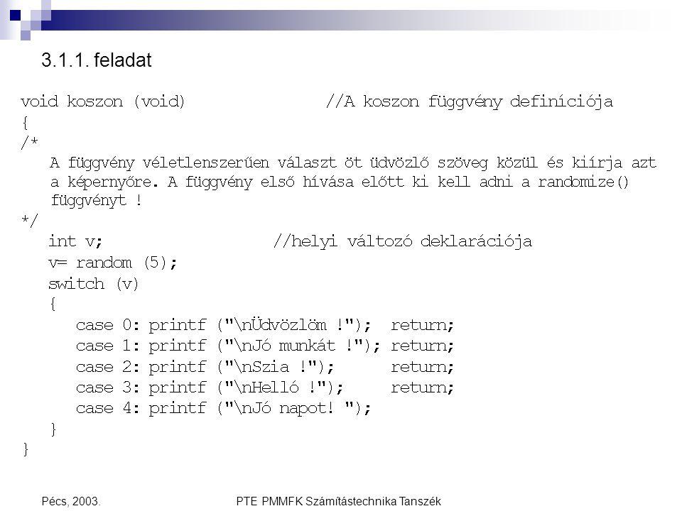 PTE PMMFK Számítástechnika TanszékPécs, 2003. 3.1.1. feladat