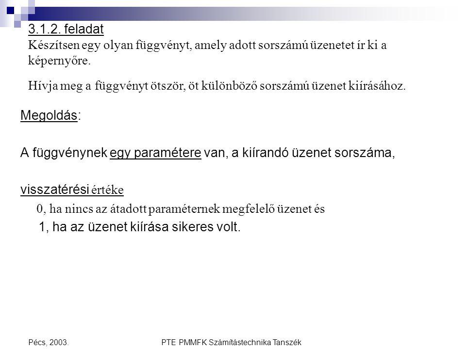 PTE PMMFK Számítástechnika TanszékPécs, 2003. 3.1.2. feladat Készítsen egy olyan függvényt, amely adott sorszámú üzenetet ír ki a képernyőre. Hívja me