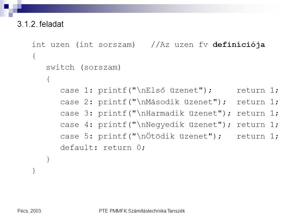 PTE PMMFK Számítástechnika TanszékPécs, 2003. 3.1.2. feladat int uzen (int sorszam) //Az uzen fv definíciója { switch (sorszam) { case 1: printf(