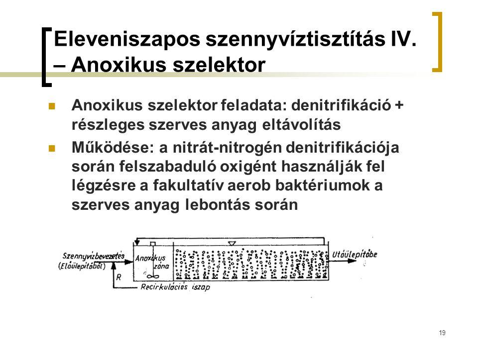 19 Eleveniszapos szennyvíztisztítás IV. – Anoxikus szelektor Anoxikus szelektor feladata: denitrifikáció + részleges szerves anyag eltávolítás Működés