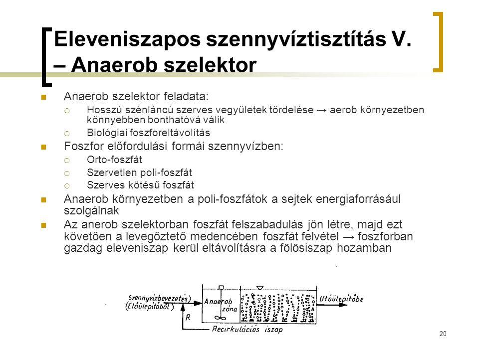 20 Eleveniszapos szennyvíztisztítás V. – Anaerob szelektor Anaerob szelektor feladata:  Hosszú szénláncú szerves vegyületek tördelése → aerob környez