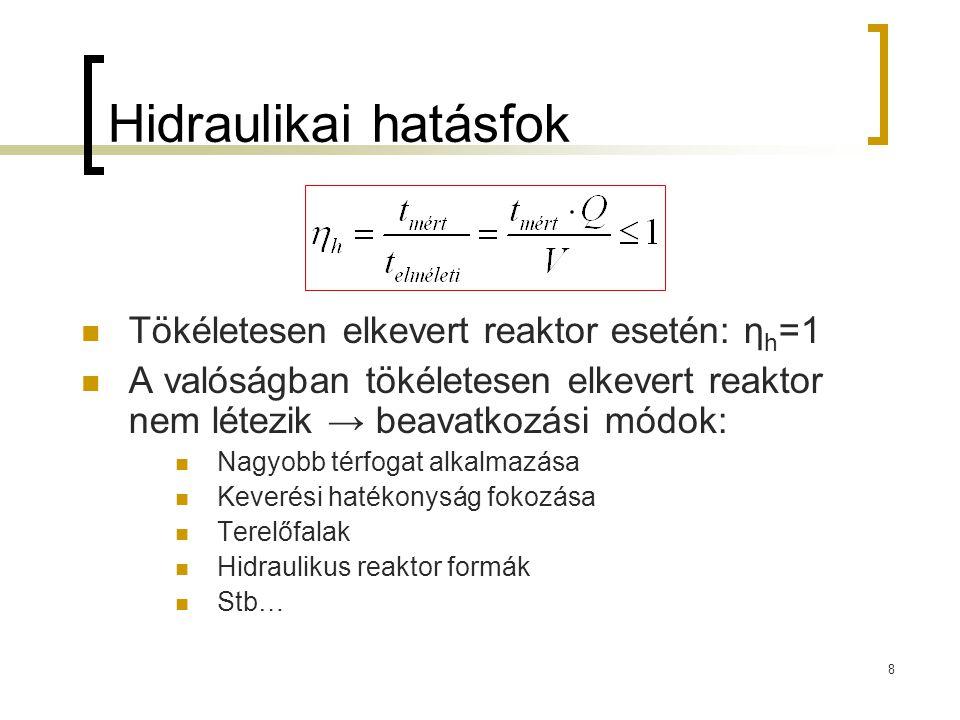 8 Hidraulikai hatásfok Tökéletesen elkevert reaktor esetén: η h =1 A valóságban tökéletesen elkevert reaktor nem létezik → beavatkozási módok: Nagyobb