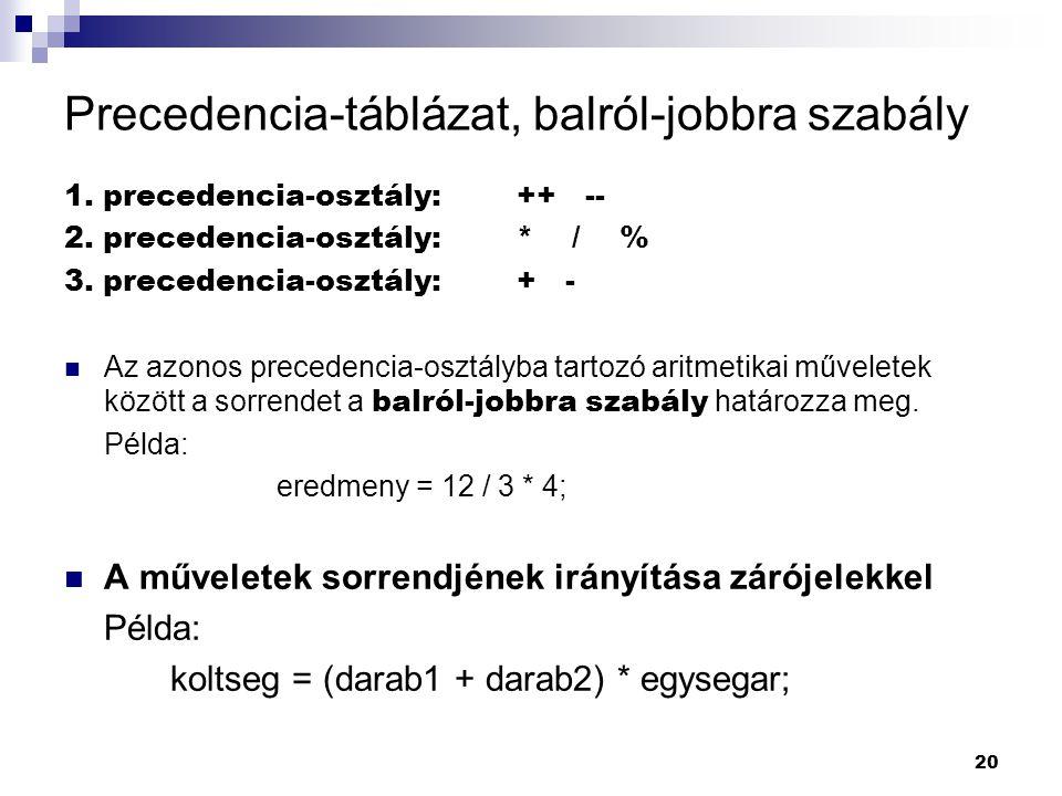 20 Precedencia-táblázat, balról-jobbra szabály 1.precedencia-osztály: ++ -- 2.
