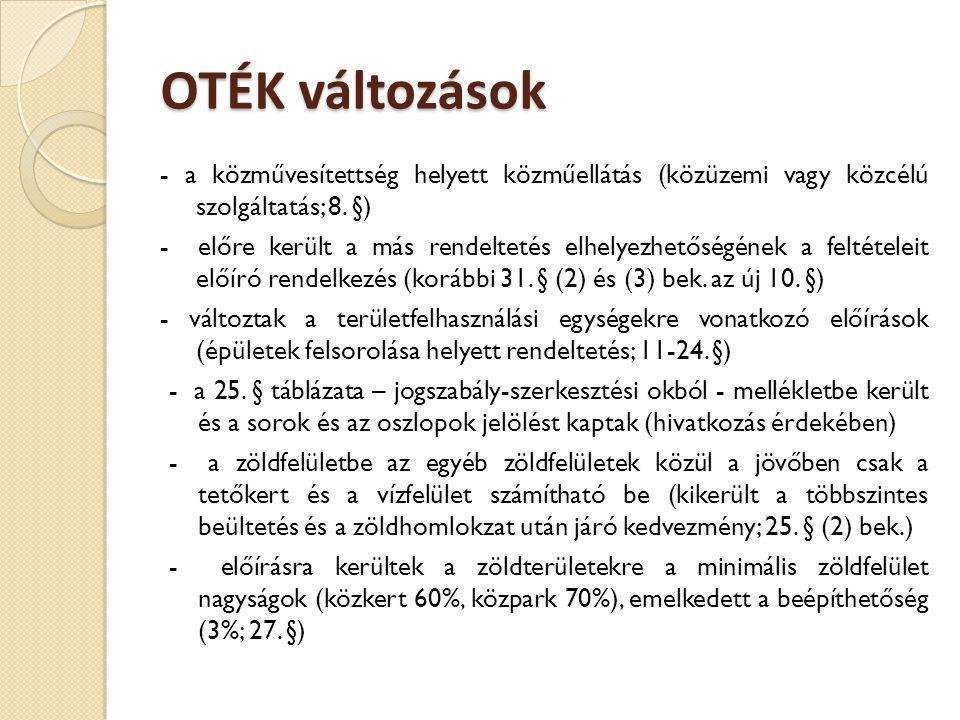 OTÉK változások - a közművesítettség helyett közműellátás (közüzemi vagy közcélú szolgáltatás; 8. §) - előre került a más rendeltetés elhelyezhetőségé