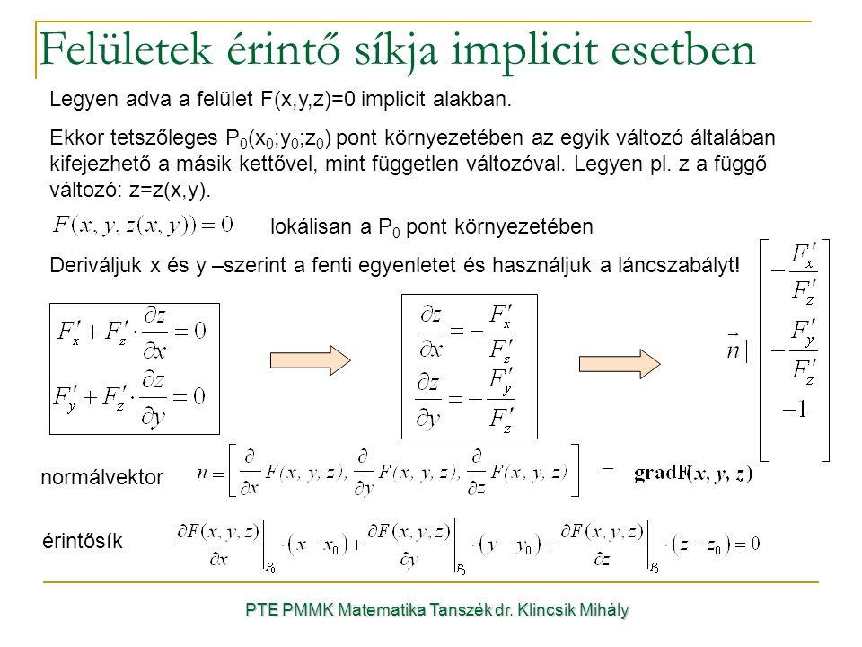 Legyen adva a felület F(x,y,z)=0 implicit alakban.