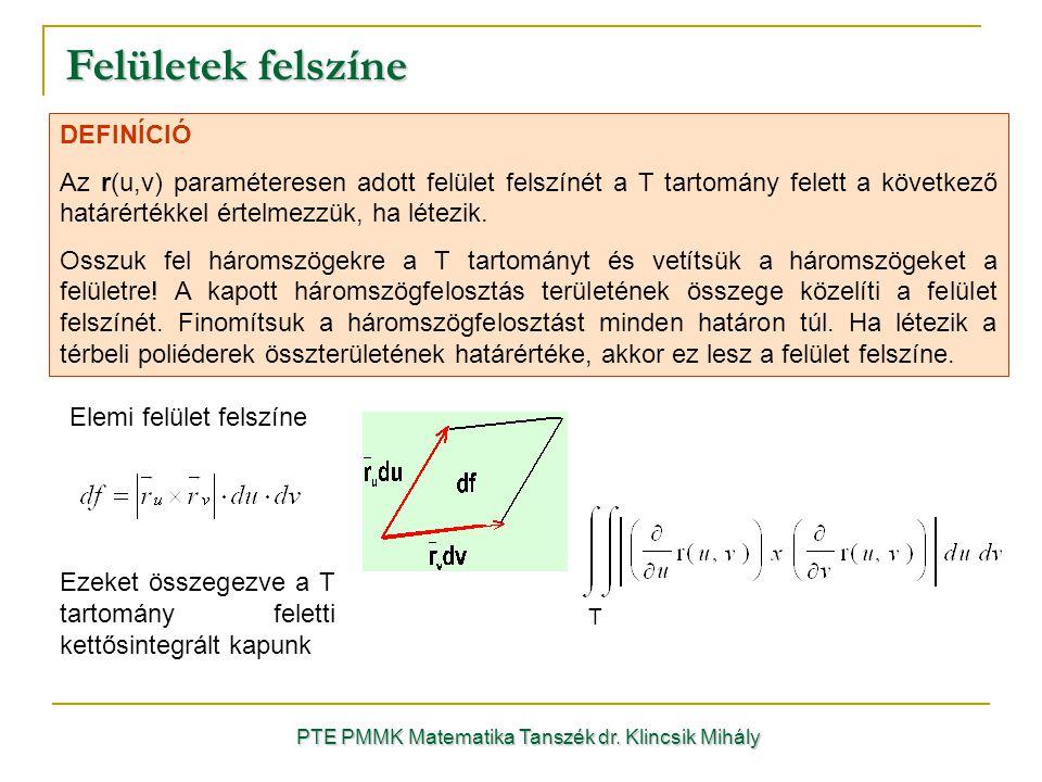 DEFINÍCIÓ Az r(u,v) paraméteresen adott felület felszínét a T tartomány felett a következő határértékkel értelmezzük, ha létezik.