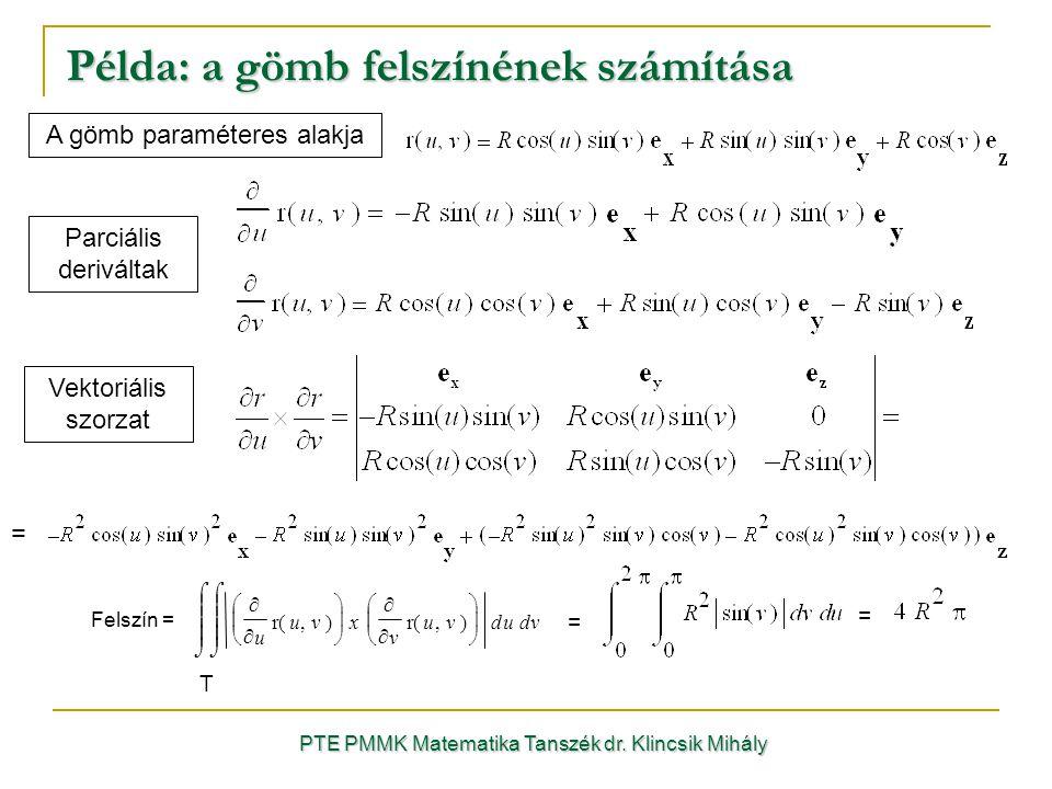 Példa: a gömb felszínének számítása PTE PMMK Matematika Tanszék dr.