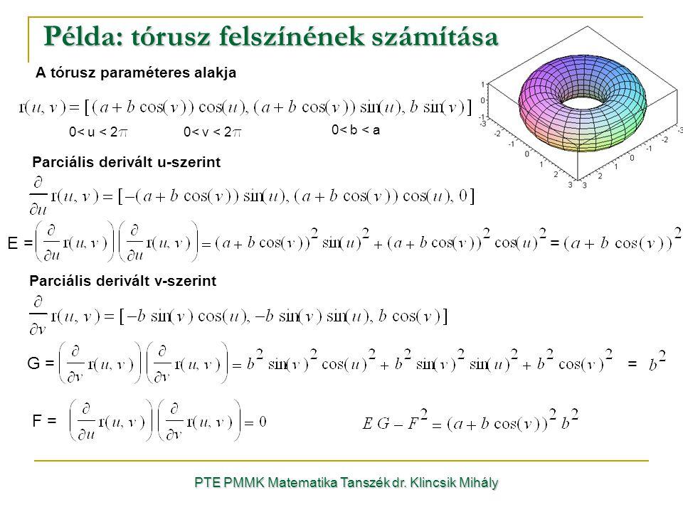 Példa: tórusz felszínének számítása PTE PMMK Matematika Tanszék dr.