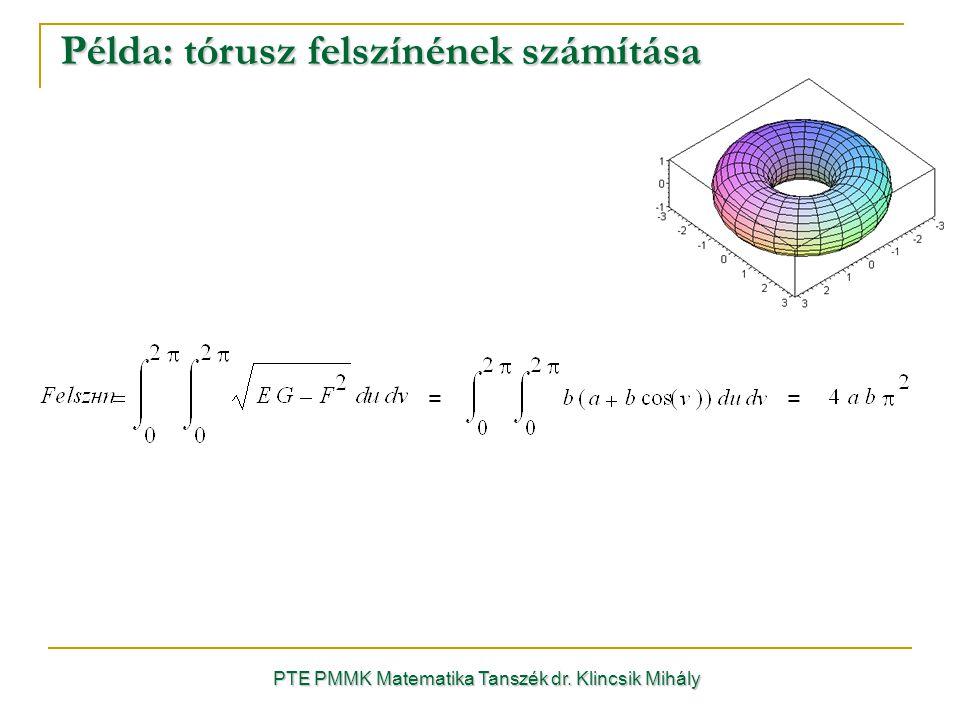 Példa: tórusz felszínének számítása PTE PMMK Matematika Tanszék dr. Klincsik Mihály = =