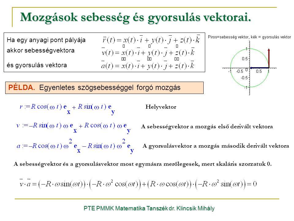 Mozgások sebesség és gyorsulás vektorai. PTE PMMK Matematika Tanszék dr.