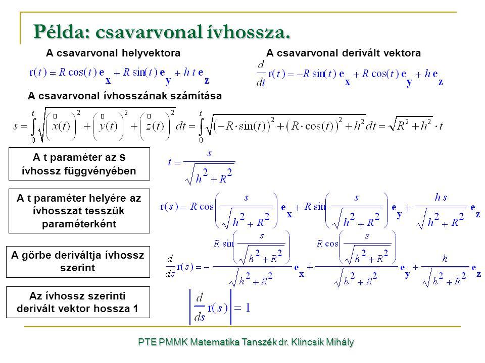 Példa: csavarvonal ívhossza. PTE PMMK Matematika Tanszék dr.