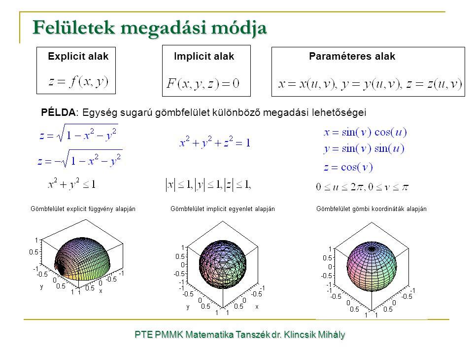 Felületek megadási módja PTE PMMK Matematika Tanszék dr.