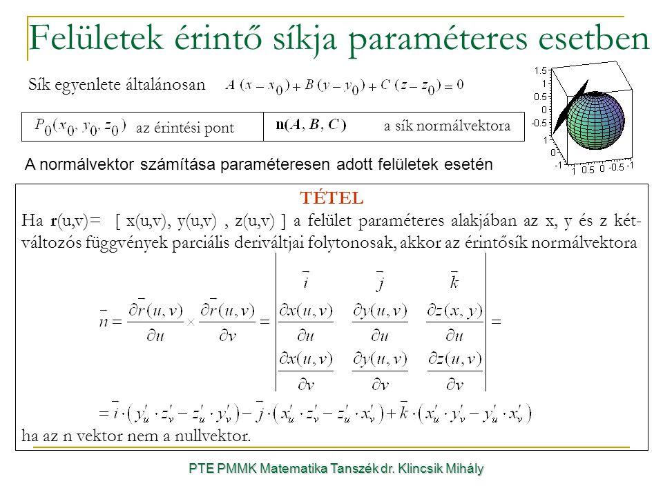Felületek érintő síkja paraméteres esetben PTE PMMK Matematika Tanszék dr.