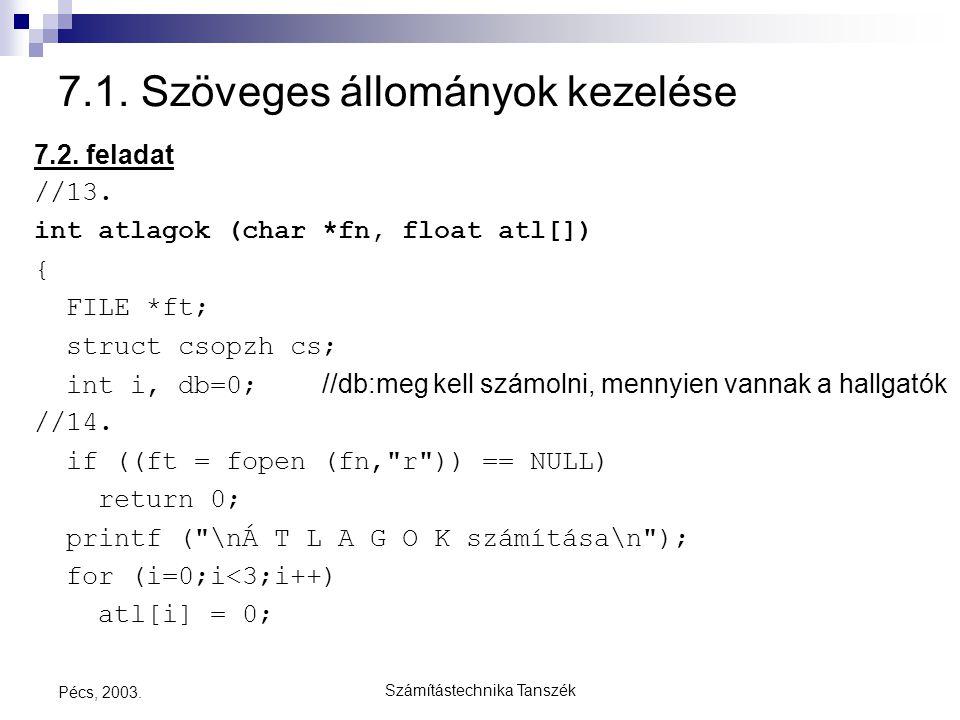 Számítástechnika Tanszék Pécs, 2003. 7.1. Szöveges állományok kezelése 7.2. feladat //13. int atlagok (char *fn, float atl[]) { FILE *ft; struct csopz