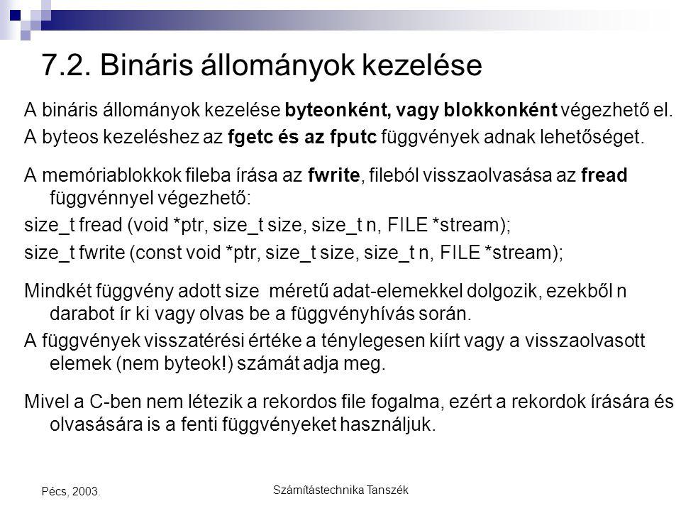 Számítástechnika Tanszék Pécs, 2003. 7.2. Bináris állományok kezelése A bináris állományok kezelése byteonként, vagy blokkonként végezhető el. A byteo
