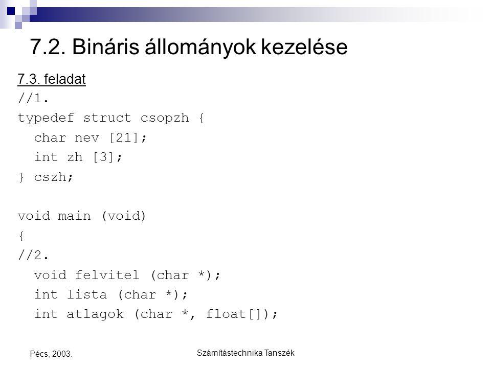 Számítástechnika Tanszék Pécs, 2003. 7.2. Bináris állományok kezelése 7.3. feladat //1. typedef struct csopzh { char nev [21]; int zh [3]; } cszh; voi