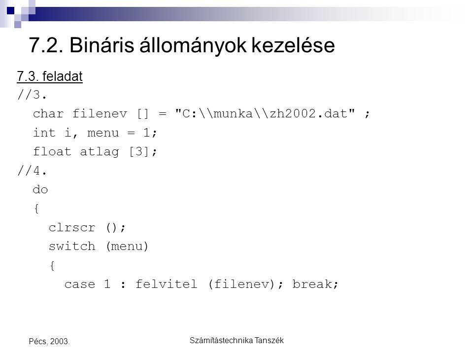 Számítástechnika Tanszék Pécs, 2003. 7.2. Bináris állományok kezelése 7.3. feladat //3. char filenev [] =