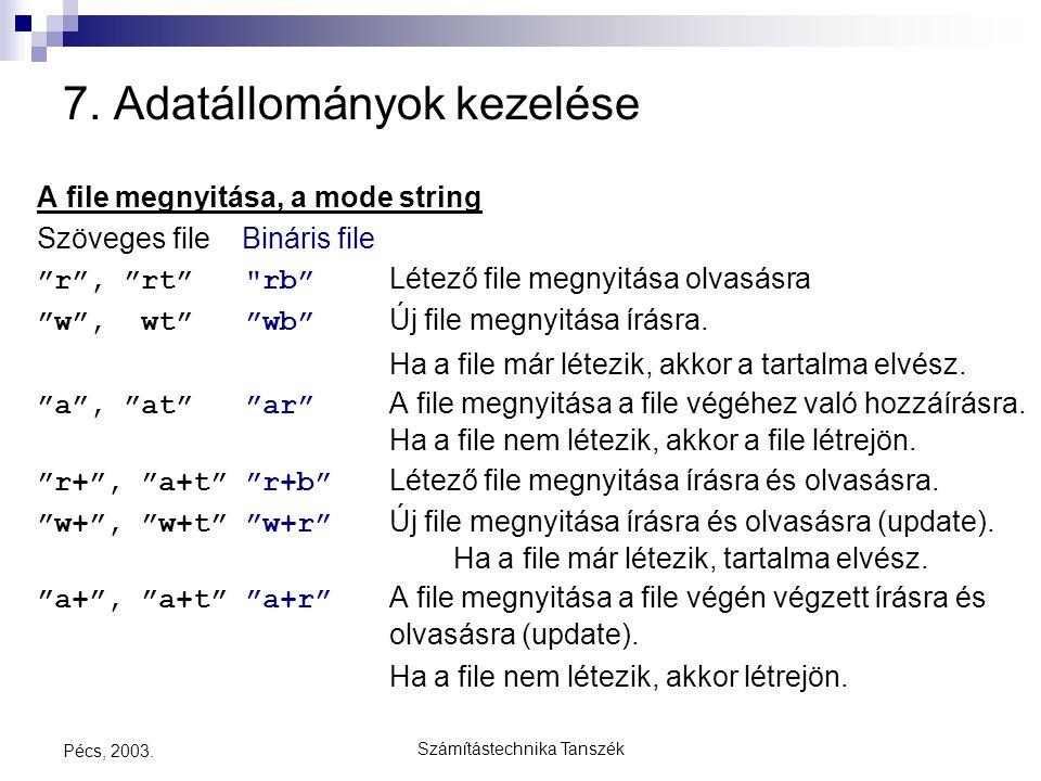 """Számítástechnika Tanszék Pécs, 2003. 7. Adatállományok kezelése A file megnyitása, a mode string Szöveges file Bináris file """"r"""", """"rt"""""""
