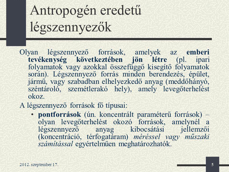 2012.szeptember 17.6 Antropogén eredetű légszennyezők felületi (ún.