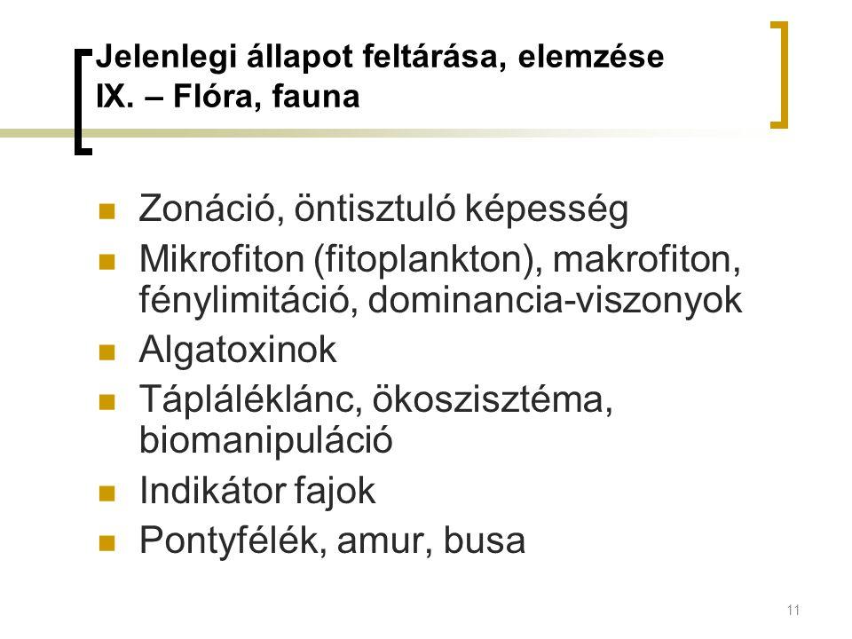 11 Jelenlegi állapot feltárása, elemzése IX. – Flóra, fauna Zonáció, öntisztuló képesség Mikrofiton (fitoplankton), makrofiton, fénylimitáció, dominan
