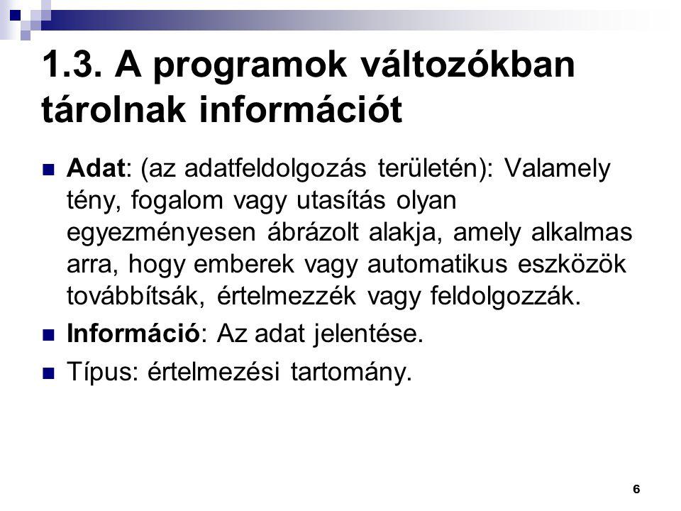 6 1.3. A programok változókban tárolnak információt Adat: (az adatfeldolgozás területén): Valamely tény, fogalom vagy utasítás olyan egyezményesen ábr
