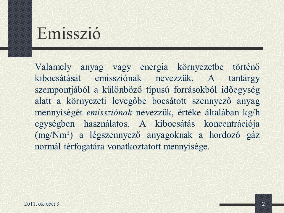 2011.október 3.3 Emisszió jogi szabályozása 4/2011.