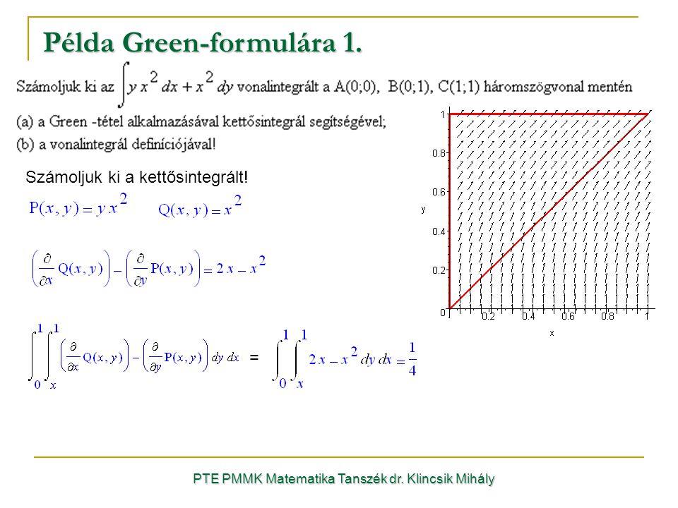 PTE PMMK Matematika Tanszék dr. Klincsik Mihály Példa Green-formulára 1. Számoljuk ki a kettősintegrált! =