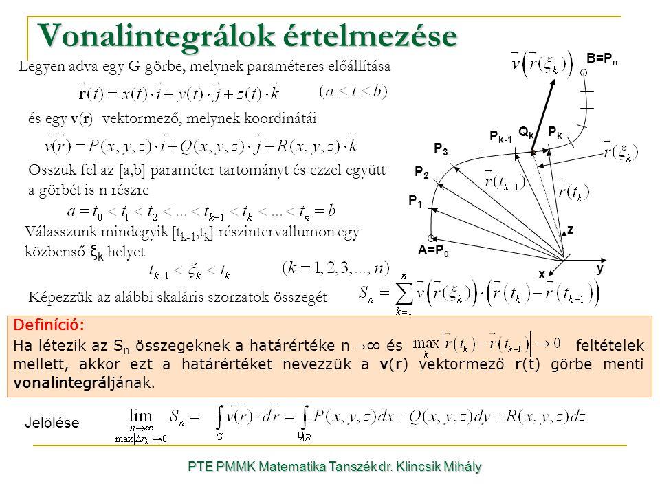 PTE PMMK Matematika Tanszék dr. Klincsik Mihály Vonalintegrálok értelmezése Definíció: Ha létezik az S n összegeknek a határértéke n →∞ és feltételek