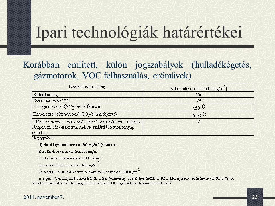 2011. november 7.23 Ipari technológiák határértékei Korábban említett, külön jogszabályok (hulladékégetés, gázmotorok, VOC felhasználás, erőművek)