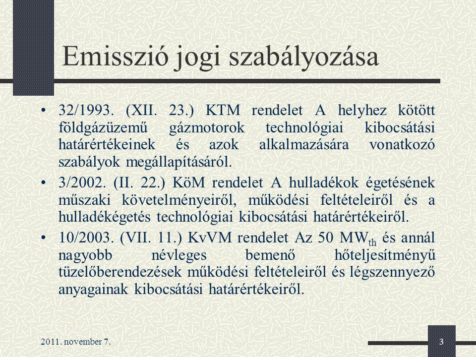 2011. november 7.3 Emisszió jogi szabályozása 32/1993. (XII. 23.) KTM rendelet A helyhez kötött földgázüzemű gázmotorok technológiai kibocsátási határ