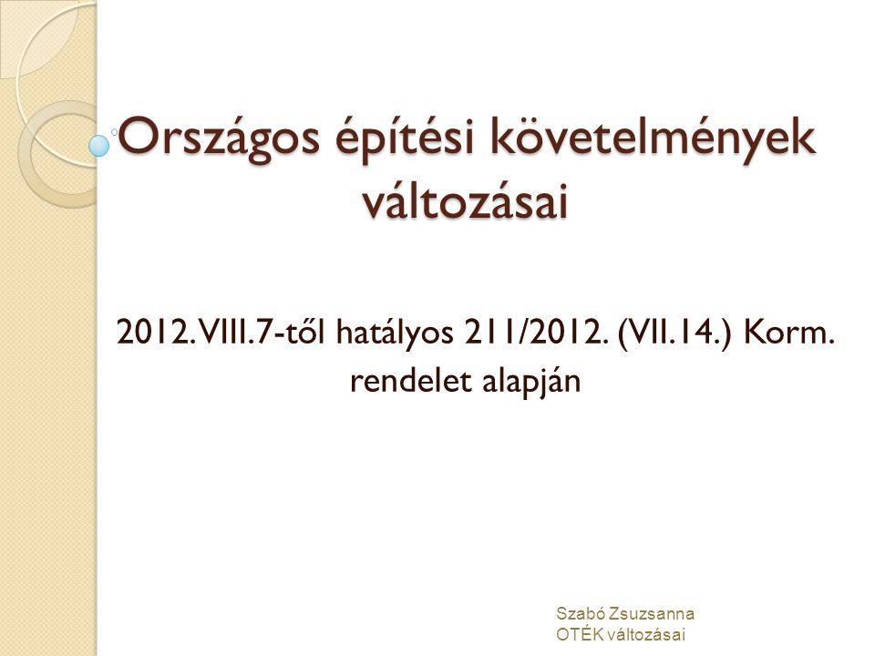 Országos építési követelmények változásai 2012. VIII.7-től hatályos 211/2012. (VII.14.) Korm. rendelet alapján Szabó Zsuzsanna OTÉK változásai
