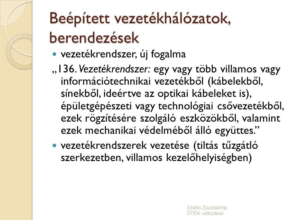 Beépített vezetékhálózatok, berendezések felvonó (db szám meghatározás szabvány szerinti forgalomelemzés alapján, vagy azzal egyenértékű szolgáltatás biztosításával kell meghatározni) Szabó Zsuzsanna OTÉK változásai