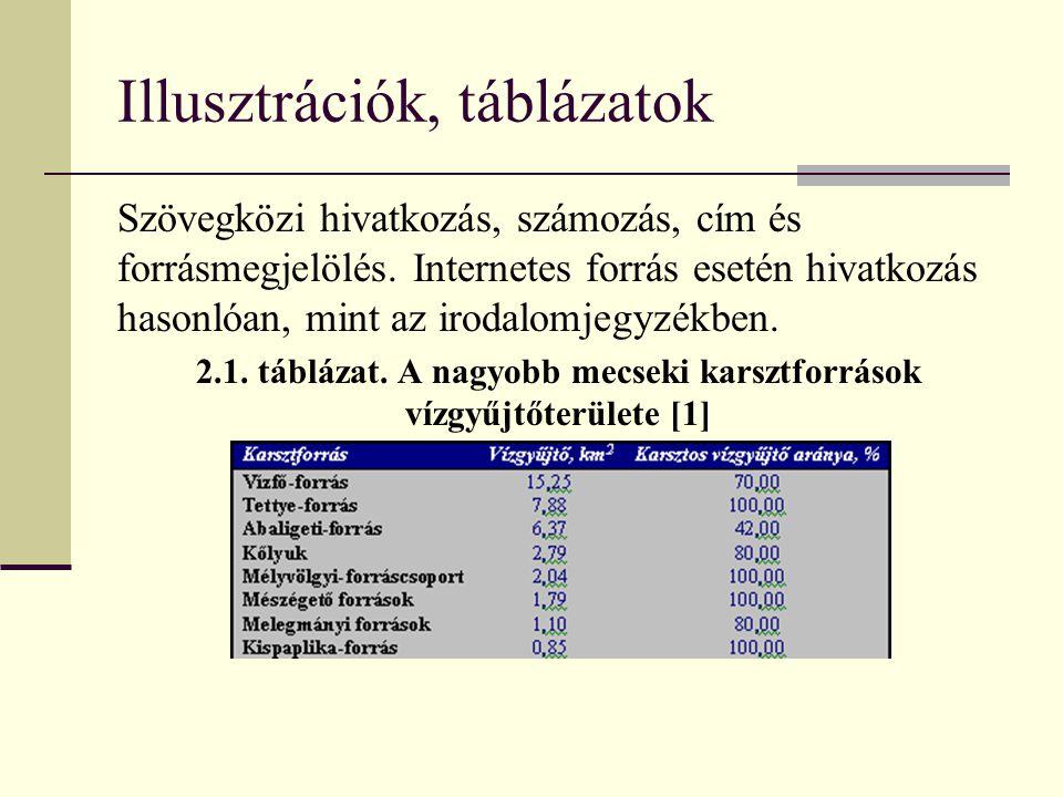 Illusztrációk, táblázatok Szövegközi hivatkozás, számozás, cím és forrásmegjelölés. Internetes forrás esetén hivatkozás hasonlóan, mint az irodalomjeg