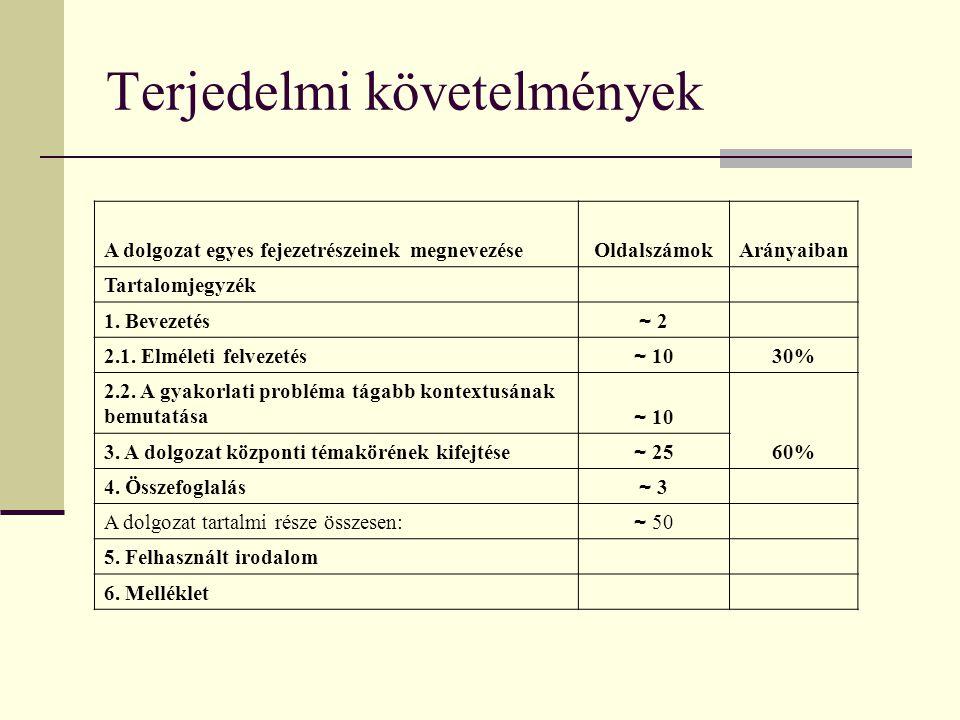 Terjedelmi követelmények A dolgozat egyes fejezetrészeinek megnevezéseOldalszámokArányaiban Tartalomjegyzék 1. Bevezetés ~ 2~ 2 2.1. Elméleti felvezet