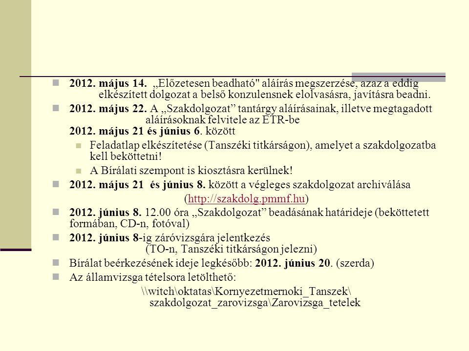 """2012. május 14. """"Előzetesen beadható"""