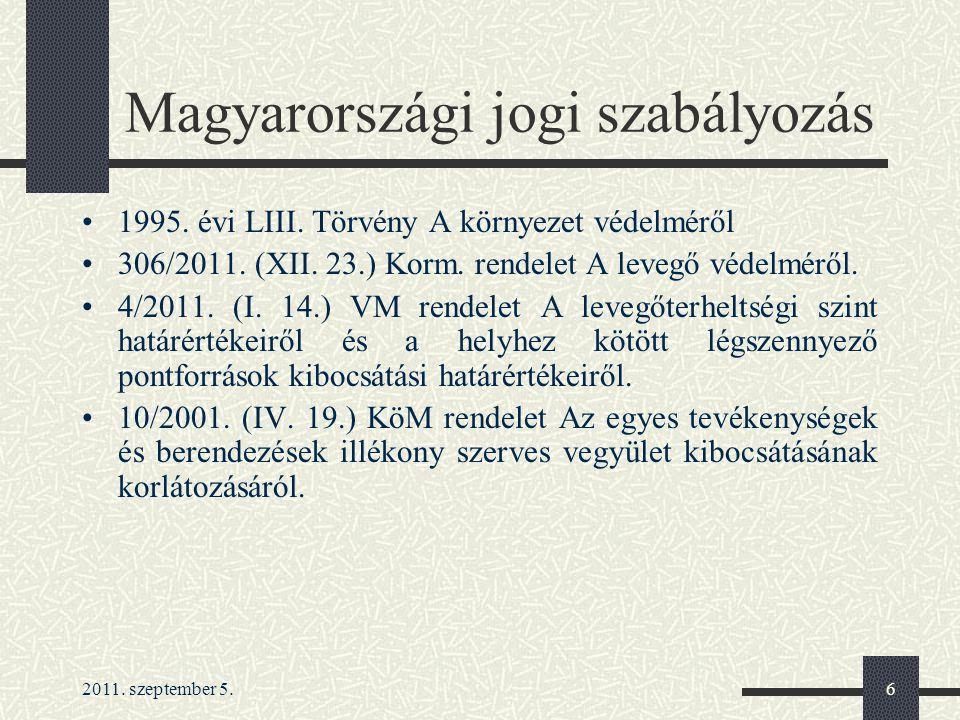 2011.szeptember 5.6 Magyarországi jogi szabályozás 1995.