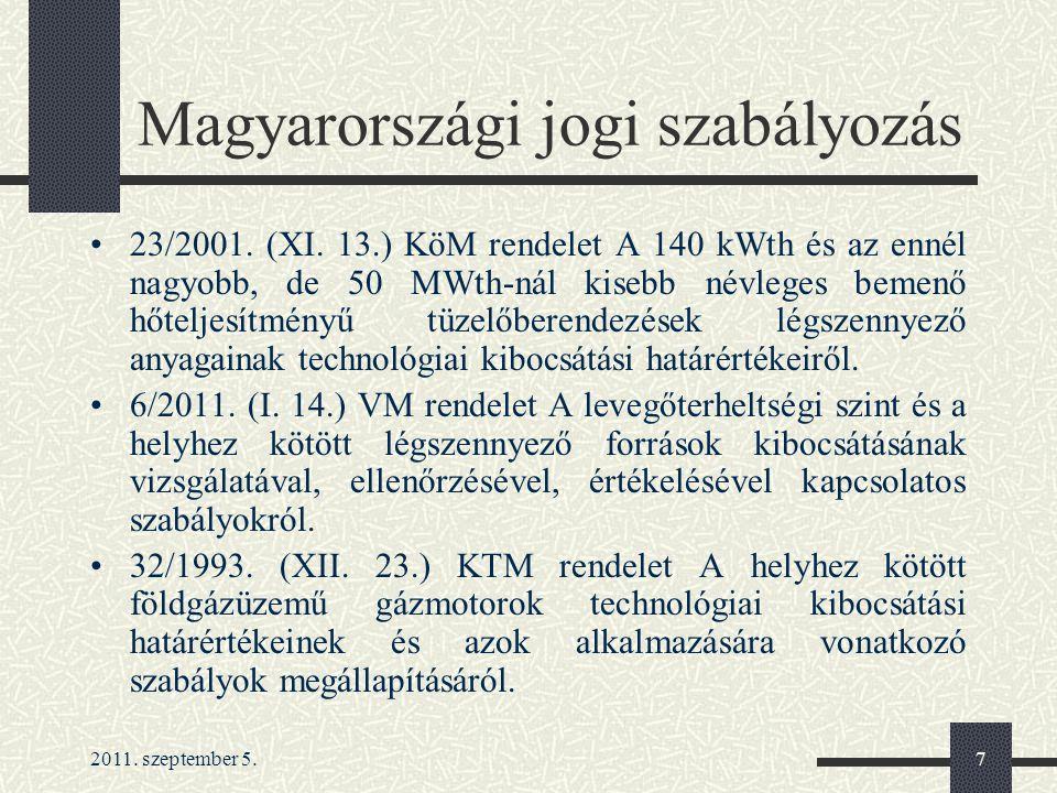 2011.szeptember 5.7 Magyarországi jogi szabályozás 23/2001.