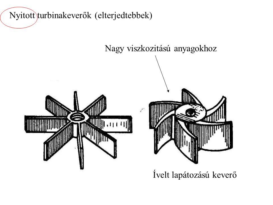 Nyitott turbinakeverők (elterjedtebbek) Nagy viszkozitású anyagokhoz Ívelt lapátozású keverő
