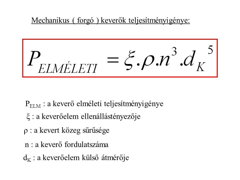 d K : a keverőelem külső átmérője P ELM : a keverő elméleti teljesítményigénye ξ : a keverőelem ellenállástényezője ρ : a kevert közeg sűrűsége n : a keverő fordulatszáma Mechanikus ( forgó ) keverők teljesítményigénye: