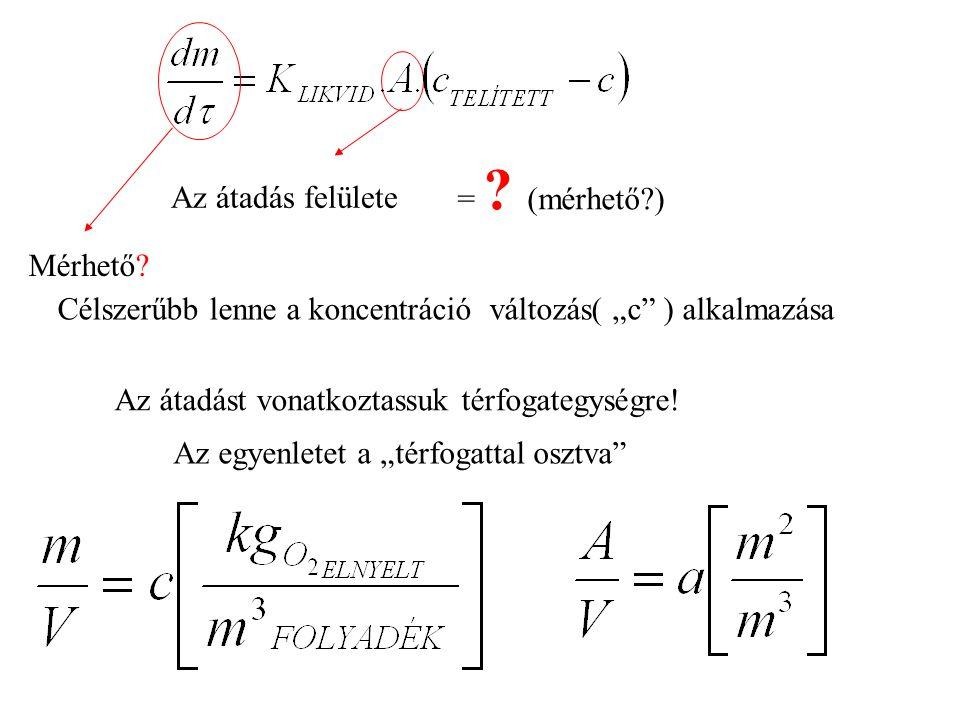 """Az átadás felülete = ? (mérhető?) Mérhető? Célszerűbb lenne a koncentráció változás( """"c"""" ) alkalmazása Az átadást vonatkoztassuk térfogategységre! Az"""